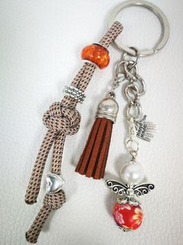 Schlüsselanhänger aus Paracord braun/beige