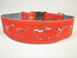 "Hundehalsband mit Klickverschluss Windhund-Motiv ""rot """