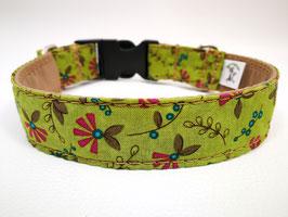 """Hundehalsband mit Klickverschluss """"Blütenzweige-grün-beere"""""""
