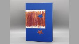 blaue Karte mit braun und Stern