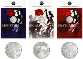 Série de 5 euros argent sous cartelettes Liberté Egalité Fraternité