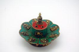 Räucherstäbchenhalter türkis mit Buddha Figuren