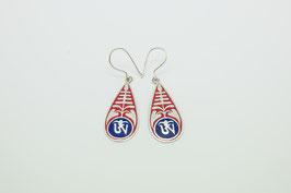 Langer Ornament Silber-Ohrring rot-blau mit Om