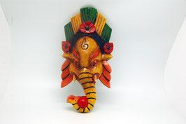 Maske Holzschnitz Ganesha gelb