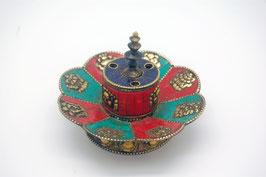 Räucherstäbchenhalter türkis-rot mit buddhistischen Glückssymbolen