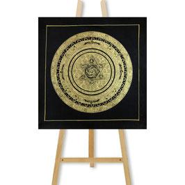 35x35 cm, tantric mandala black gold with hexagram