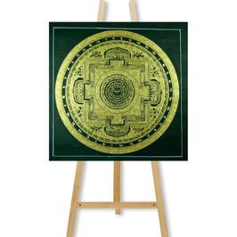 53x53 cm, tantric mandala black-gold thangka with Buddha's eyes