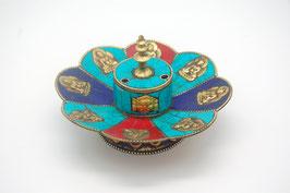 Räucherstäbchenhalter, 3farbig mit Buddha Figuren