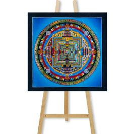32x32 cm, Kalachakra mandala blue thangka