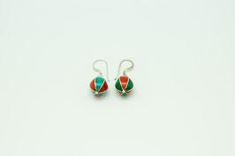 Tibetische türkis-rote Perlen Ohrringe