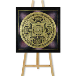 41x41 cm, galaxy mandala purple thangka with endless knot