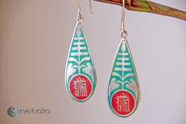 Langer Ornament Silber-Ohrring Türkis-Rot