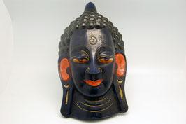 Maske Holzschnitz Buddha blau