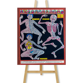 28x34 cm, Anatomie Blutgefäße des Menschen Medizin Thangka