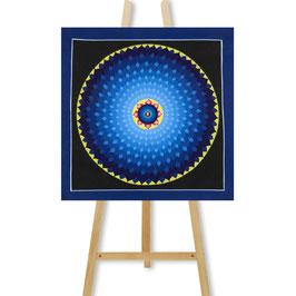 35x35 cm, blue lotus mandala thangka with Tibetan OM