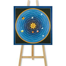 53x53 cm, Tantric Mandala Thangka blau mit Planeten