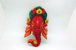 Maske Holzschnitz Ganesha rot