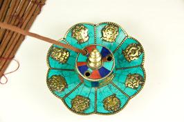 Räucherstäbchenhalter, türkis-bunt, Glückssymbole