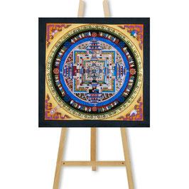 33x33 cm, Kalachakra Mandala bunt auf Schwarz Thangka