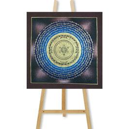 41x41 cm, Galaxie Mantra Mandala mit braunem Grund Thangka