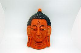 Maske Holzschnitz Buddha orange