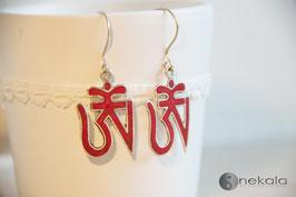 Ohrring Tibetisches Om Rot