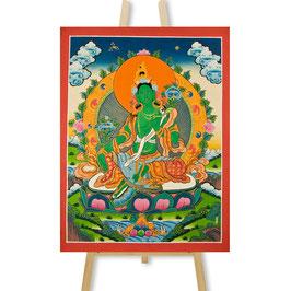 58x44 cm, Die Grüne Tara Thangka, groß