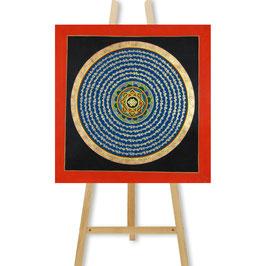 35x35 cm, Goldenes Mantra Mandala mit Endlosknoten Thangka