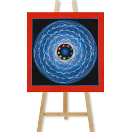 34x34 cm, Blaues Tantric Mandala mit Om Thangka