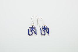 Silberohrring Tibetisches Om Blau