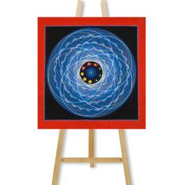 34x34 cm, blue tantric mandala with Tibetan Om thangka