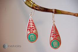 Langer Ornament Ohrring rot-türkis