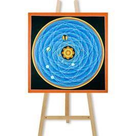 53x53 cm, Tantric Mandala Thangka orange mit Planeten