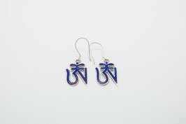 Ohrring Tibetisches Om Blau