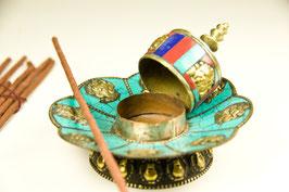 Räucherstäbchenhalter türkis mit buddhistischen Glückssymbolen