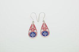 Langer Ornament Silber-Ohrring rot-blau mit Endlosknoten