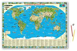 """Schreibunterlage """"Illustrierte Weltkarte Tiere"""""""