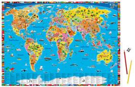 """Schreibunterlage """"Illustrierte politische Weltkarte"""""""