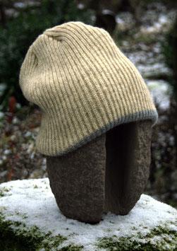 Mütze doppelt gestrickt, natur oder anthrazit