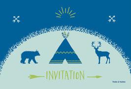 Cartes d'invitation tipi