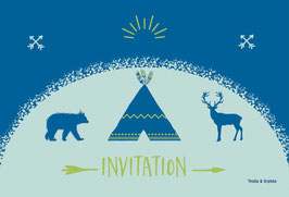 Cartes d'invitation tipi