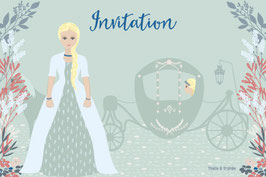 Cartes d'invitation princesse bleu