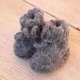 Alpakaschühchen handgestrickt anthrazith