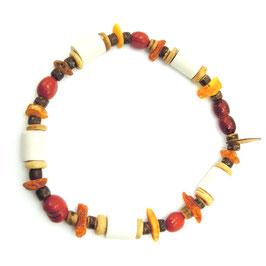 Bernstein & EM-Keramik Halskette   ★   roter Jaspis