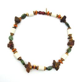 Bernstein & EM-Keramik Halskette   ★   Afrikanischer Türkis