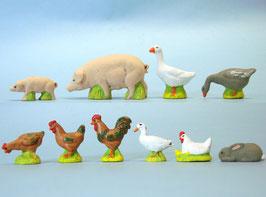 Lot 10 animaux de la ferme