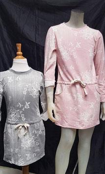 roze of grijze jurk maat 86/92 tm 152