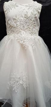 Gebroken wit  feest jurk met bloemen en steentjes