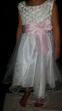 Feest jurk in wit met roze