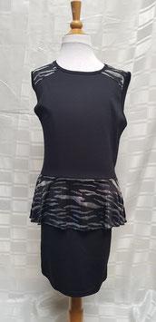 zwart stretch  jurkje met zilveren print